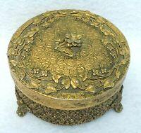 Antique/Vtg Brass Filigree Gold Ormolu FLOWER Frosted Satin Glass Powder Box Jar