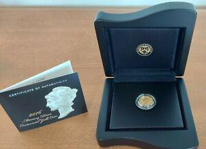 2016-W 1/10 OZ .9999 GOLD CENTENNIAL MERCURY DIME COIN w/BOX & COA US Mint