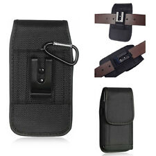 For iPhone SE 5S 5 RUGGED Black Nylon Canvas Pouch Holster Belt Loop Case+Hook