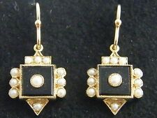 9K SOLID GOLD ONYX & SEED PEARL VICTORIAN DESIGN EARRINGS
