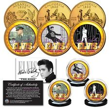ELVIS PRESLEY Life & Times 24K Gold Plated State US Quarter 3-Coin OFFICIAL Set