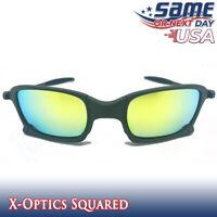 Squared X-Optics Metal Frame Polarized Sunglasses with Gold Iridium Lenses