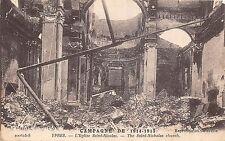 POSTCARD  MILITARY   WWI    YPRES  Saint  Nicholas  Church   Bomb  damage