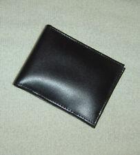 New! Simple Plain Men's Wallet/Billfold, Black, 4 Pockets, Genuine Split Leather