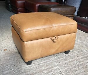Aniline tan brown Leather footstool pouffe footrest ottoman