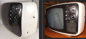 Vtg White Space Age Panasonic TR-542 Solid State Portable TV Television Black