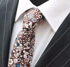 Tie Cravatta Slim Marrone con Bianco & Blu Floreale Cotone di alta qualità T6110