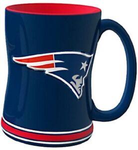 New England Patriots 14 oz Team Color Sculpted Logo Relief Coffee Mug  - NEW