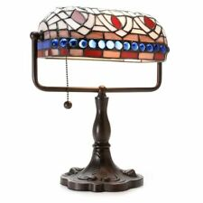 Stained Glass Tiffany Style Desk Reading Accent Lamp with Blue Gemstones 12""