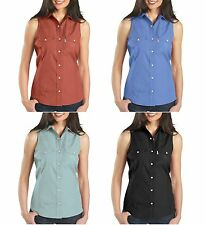 New $38 Carhartt Women's Sleeveless Stretch Poplin Snap-Front Shirt