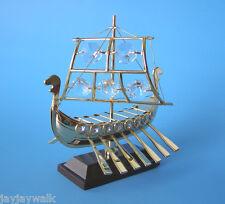 "SWAROVSKI CRYSTAL ELEMENTS ""VIKING SHIP"" FIGURINE - ORNAMENT 24KT GOLD PLATED"