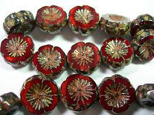 10 beads -Red Opal Travertine Czech Glass Flower Beads 14mm