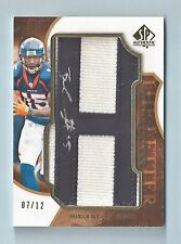BRANDON MARSHALL 2008 SP AUTHENTIC BY THE LETTER PATCH AUTOGRAPH AUTO /12