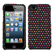iPHONE SE 5S - DIAMOND BLING HARD PROTECTOR CASE COVER COLORFUL PINK POLKA DOTS