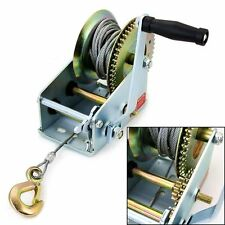 1200LB MANUAL BOAT MARINE TRAILER HAND POWERED WINCH + 20M WIRE STRAP + HOOK