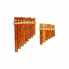 More details for my family house bamboo pan flute in brown with 8 pipes - handmade - 21 x 12cm