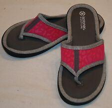 Isotoner Signature Flip Flops Sz 6.5 7 Womens Sandals Pink Gray Comfort Beach
