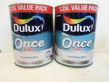 2.5 L - Dulux Once Gloss - Pure Brilliant White - 2 x 1.25L - For Wood & Metal