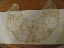 Antique Vtg. Machine Embroidered Schiffli Lace Beige Ladies Collar Bib Dickie