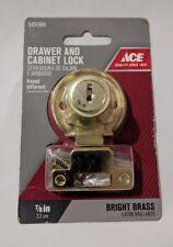 "New Bright Brass Kitchen Office Drawe Cabinet Lock Safety (2 keys) Keyed 7/8"" g1"