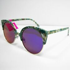 337ebd334637 Betsey Johnson Womens Round Sunglasses Animal Top Browline Green White  35