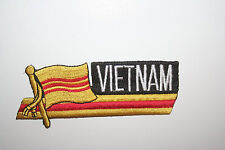 SOUTH VIETNAM SIDEKICK WORD COUNTRY FLAG IRON-ON PATCH CREST BADGE 1.5 X 4.5 IN.