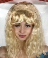 Women's Blond Long Curly Hair w Fringe Princess Wig Party Costume Wig