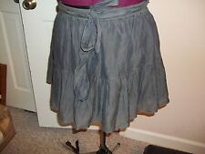 ABERCROMBIE & FITCH JUNIOR'S SIZE L GRAY SKIRT ELASTIC WAISTBAND RUFFLE LINED