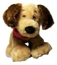 "Gund Bandit Puppy Dog with Red Bandana Cuddly Brown Plush 9"" Stuffed Animal"
