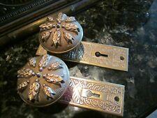 Antique Door Hardware: Solid Bronze Matching Door Knobs & Back Plates 1890