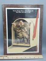 "Vtg 1993 Always Near And Dear To Me Kitten Cat Wall Plaque Pressed Wood  9""x12"""