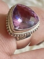 African Amethyst 925 PTI Nepal Purple Sterling Silver Bali Cocktail Ring Sz 10
