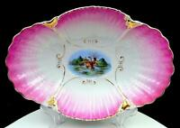 "VICTORIAN PORCELAIN CLAM SHELL EMBOSSED HAND PAINTED DUCKS 12 1/2"" OVAL BOWL"
