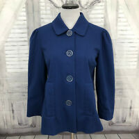 Dialogue QVC Womens XS Solid Blue Jacket Blazer Button Down 3/4 Sleeve Lined D1