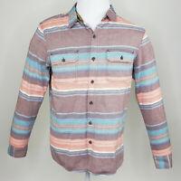 Modern Amusement Men's Orange Blue Teal Striped Long Sleeve Button Up Medium M