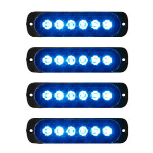 4x 6-LED Blue Car Recovery Flashing Grille Beacon Warning Strobe Lights 12V-24V