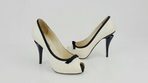Chanel Cream Leather Black Bow Peep Toe Hidden Platform Heels Pumps Shoes SZ 38