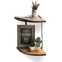 Arc bookshelf 2 Tier Wood Storage Shelf Industrial Wall Shelves Corner Mounted
