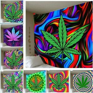 Tapestry Weed Printing Background Trippy Home Mandala Cannabis Wall Hanger
