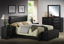 Queen Size Bed Headboard Platform Black Faux Leather Furniture Bedroom Rails NEW