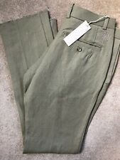 "DIESEL OLIVE GREEN ""PHIJOS"" LINEN WOOL TROUSERS PANTS CHINO'S - 34"" - NEW TAGS"