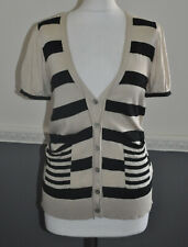 Ronit Zilkha Ladies Short Sleeve Cardigan Fitted Top Striped 55% Silk L / Large
