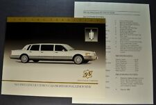 1992 S&S Lincoln Town Car Limousine Brochure Sheet + Data Excellent Original 92