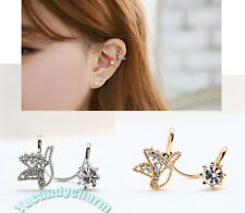 Made in Korea Flying Bird GEM non-pierced Ear bone Clip-on Cuff Gold White Gold