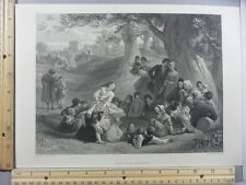 Rare Antique Original VTG Hunt The Slipper Engraving Art Print