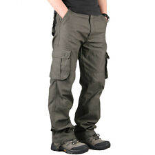 Mens Cargo Pocket Work Pants Military Army Casual Hiking Bottoms Combat Trousers