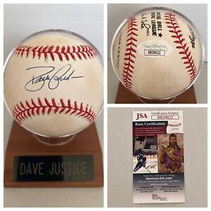 David Justice Signed Autograph National League Baseball + Holder JSA - FREE S&H!