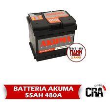 BATTERIA AUTO AKUMA BY FIAMM 55 AH 12V 480A EN ORIGINALE FIAT PANDA