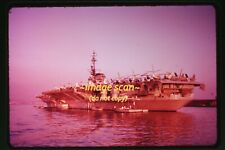 c.1959 Navy Aircraft Carrier FDR Ship in Italy, Original Slide d22a