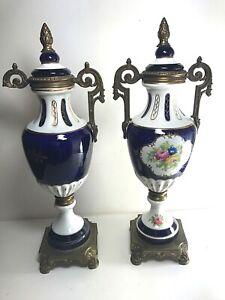 PAIR French Serves Style Porcelain Urns Vases Cobalt Blue Gilt Brass